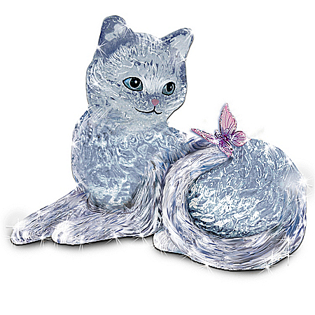 Smitten Crystal Kitten And Butterfly Figurine by The Bradford Exchange Online - Lovely Exchange
