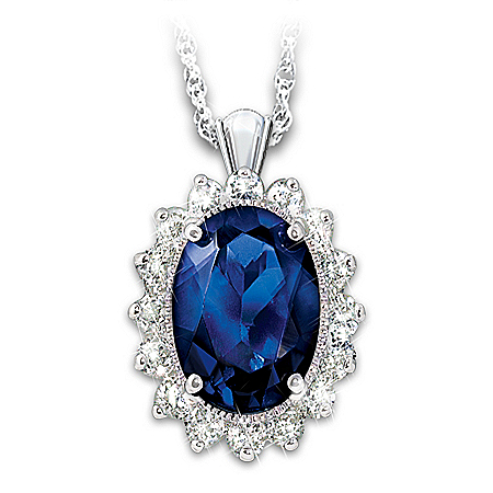 Kate Middleton-Inspired Created Sapphire Pendant Necklace