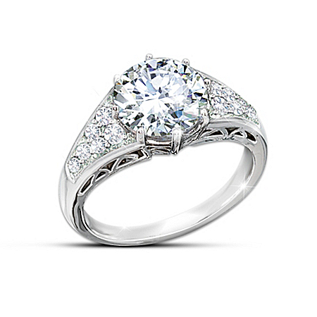 Reign Of Romance Diamonesk Queen Elizabeth II Replica Engagement Ring by The Bradford Exchange Online - Lovely Exchange