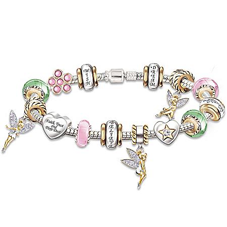 """Faith, Trust & Pixie Dust"""" Tinker Bell Charm Bracelet"""