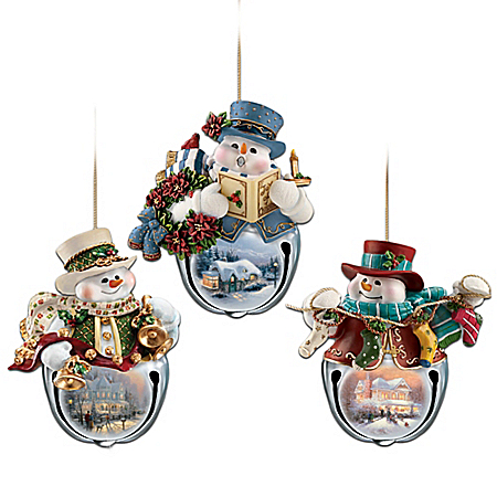 Thomas Kinkade Snow-Bell Holidays Snowman Ornaments: Set Of Three