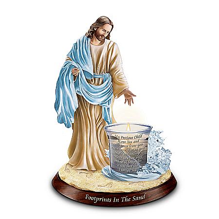 Jesus Christ Inspirational Candleholder: Footprints In The Sand