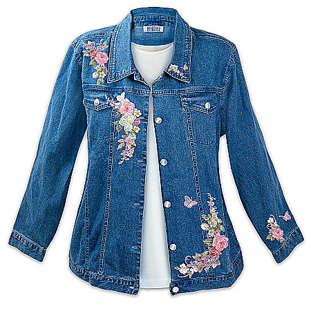 "Lena Liu Plates Lena Liu ""Wrapped In Roses"" Women's Denim Art Jacket"