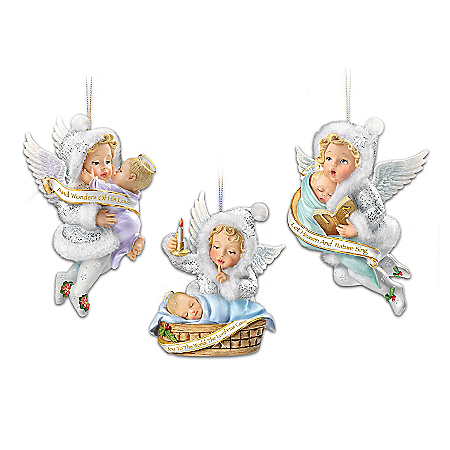 Snow Wonder Angels From Heaven Above Baby Christmas Ornament Set