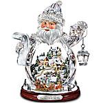 Thomas Kinkade Santa Claus Tabletop Crystal Figurine - Santa Claus Is On His Way