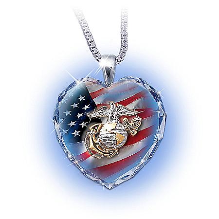 USMC Crystal Heart Pendant Necklace: Semper Fidelis Pride Gift
