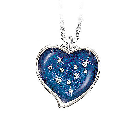 Solid Sterling Silver And Swarovski Crystal Pendant Necklace: Stars Of Heaven