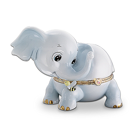 Kismet Elephant Porcelain Musical Trinket Box