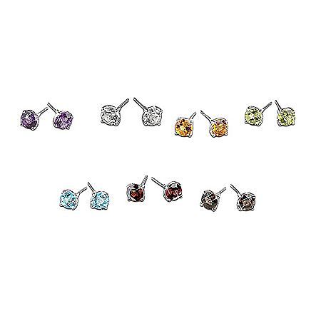 A Week Of Genuine Gemstones Stud Earrings: Set Of Seven Pairs