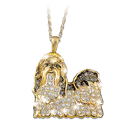 Best In Show Dog Lovers Shih Tzu Crystal Pendant Necklace