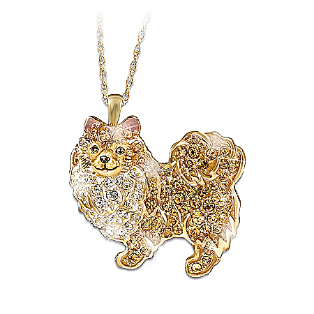 Best In Show Dog Lovers Pomeranian Crystal Pendant Necklace