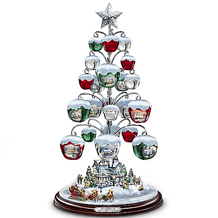 Thomas Kinkade Jingle All The Way Bell Ornament Tabletop Christmas Tree 109234001