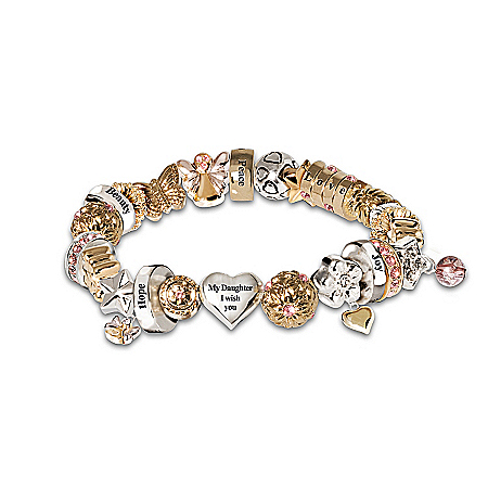 Heartfelt Wishes Swarovski Crystal Daughter Charm Bracelet: My Daughter I Wish You