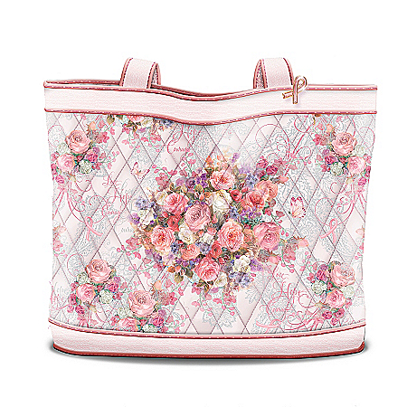 Lena Liu Plates Lena Liu Breast Cancer Support Floral Design Tote Bag: Hope Blossoms