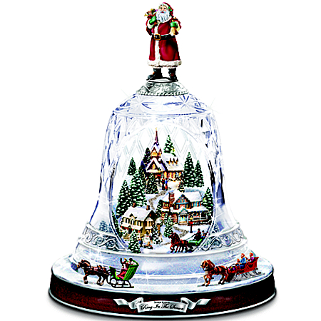 Thomas Kinkade's Ring In The Season Crystal Bell Musical Table Centerpiece