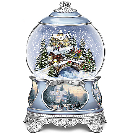 Photo of Thomas Kinkade Jingle Bells Christmas Musical Snowglobe by The Bradford Exchange Online