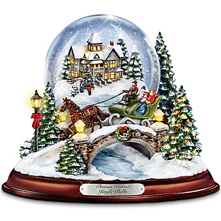 Thomas Kinkade Jingle Bells Illuminated Musical Christmas Snowglobe by The Bradford Exchange Online - Lovely Exchange