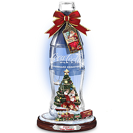 Coca-Cola Winter Wonderland Bottle Figurine With Moving Train Around The Base