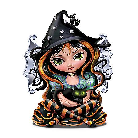 Fairy And Cat Illuminated Halloween Figurine