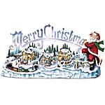 Thomas Kinkade Musical Illuminated Miniature Village Figurine: Santa's Inspiration