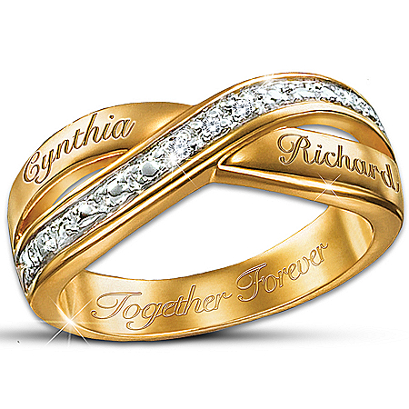 Eternity Personalized Double Band Diamond Ring: Romantic Jewelry Gift – Personalized Jewelry