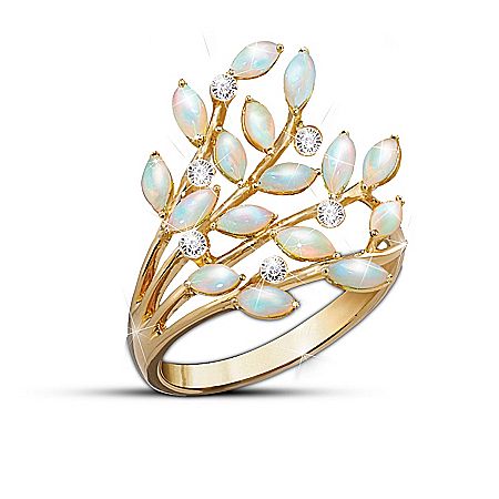 Opal Indulgence Diamond 24K Gold-Plated Ring