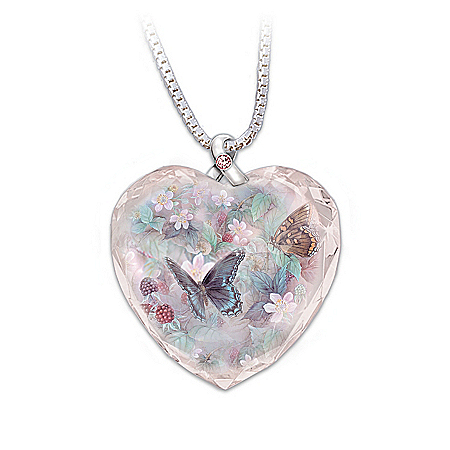 Lena Liu Plates Lena Liu Breast Cancer Support Crystal Pendant Necklace: Butterflies Of Hope