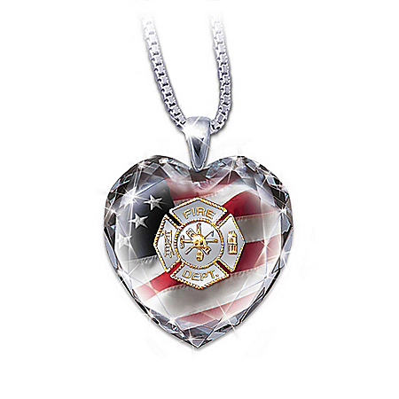 Firefighter Crystal Heart Pendant Necklace: My Hero