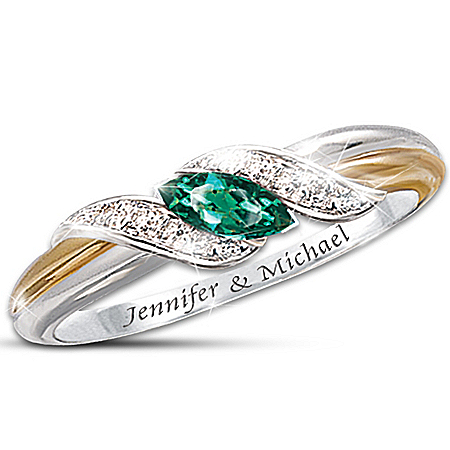 Emerald And Diamond Embrace Personalized Couple's Ring