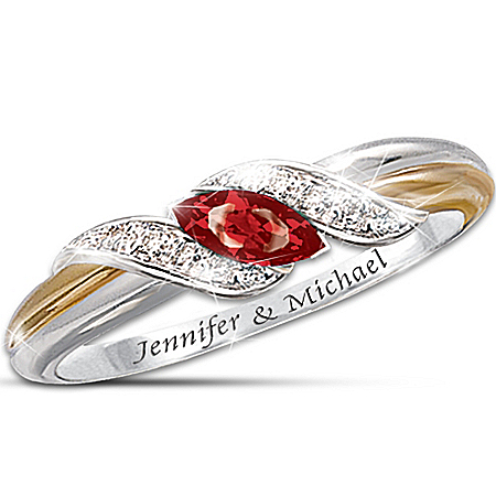 Ruby And Diamond Embrace Personalized Women's Ring