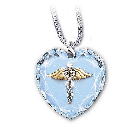 Crystal Heart Caduceus Pendant Necklace: Healing Touch