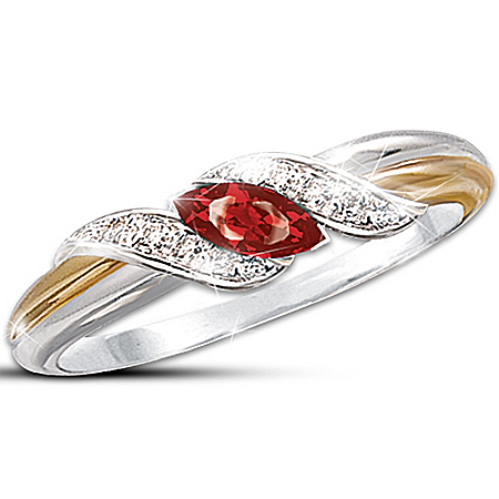 "Marquise-Cut Ruby & Pave Diamond ""Embrace"" Women's Ring"