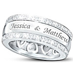 Personalized Name-Engraved Solid Sterling Silver Diamond Ring - Our Forever Love