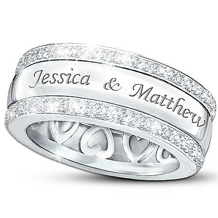 Personalized Name-Engraved Solid Sterling Silver Diamond Ring: Our Forever Love – Personalized Jewelry