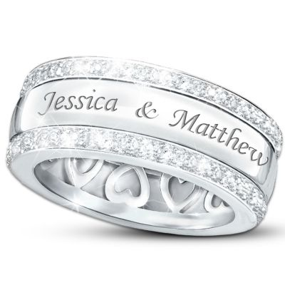 25th Wedding Anniversary Ring Ideas : ... Name-Engraved Solid Sterling Silver Diamond Ring: Our Forever Love