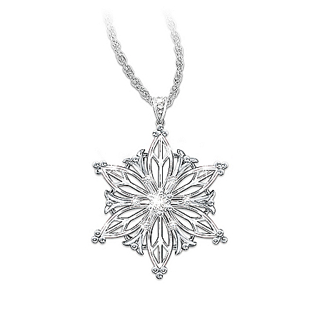 Unique As A Snowflake: Solid Sterling Silver Pendant With A Genuine Solitaire Diamond