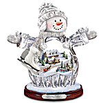 Thomas Kinkade Winter Wonderland Crystal Snow Girl Figurine - Lights Up!