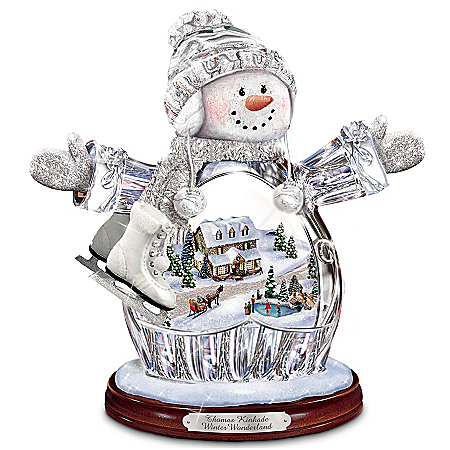 "Thomas Kinkade ""Winter Wonderland"" Crystal Snow Girl Figurine: Lights Up! by The Bradford Exchange Online - Lovely Exchange"