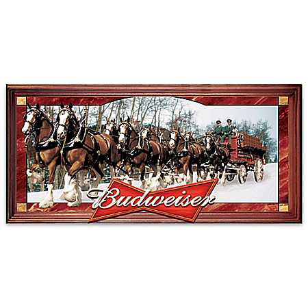 Budweiser Clydesdales Illuminated Stained Glass Panorama Wall Decor