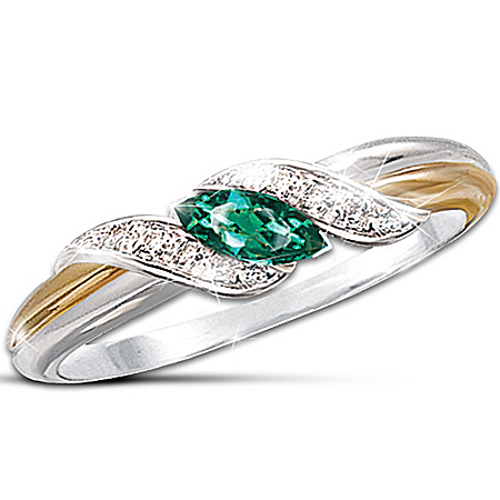 Emerald & Diamond Embrace Ring