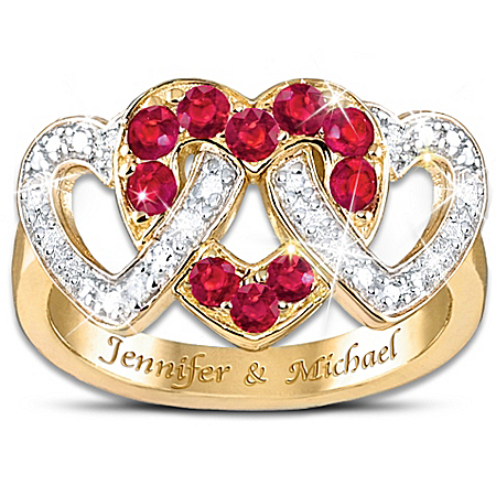 Love's Embrace Diamond & Ruby Personalized Ring by The Bradford Exchange Online - Lovely Exchange