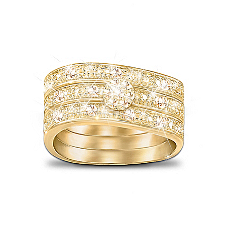 Three Band Ring With Champagne-Colored Diamonds: Champagne Celebration
