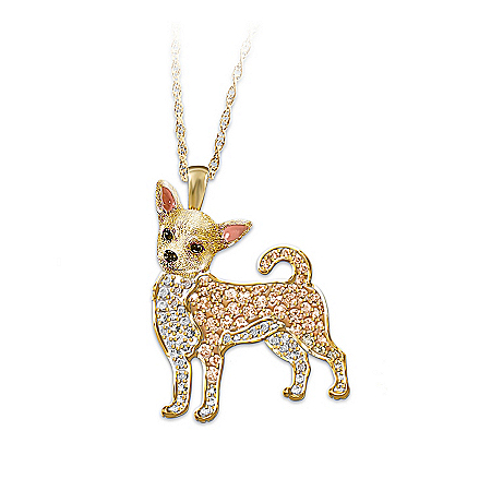 Best In Show Dog Lovers Chihuahua Crystal Pendant Necklace