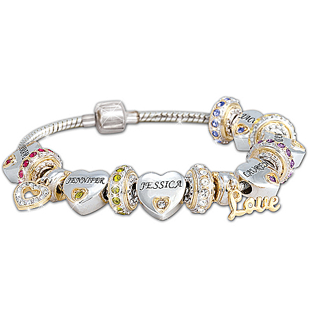 Personalized Charm Bracelets Engraved Names