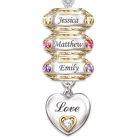 Forever In A Mother's Heart: Personalized Birthstone Pendant Necklace