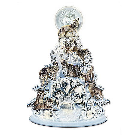 "Wolf Decor The Legend Of The White Wolf"" Sculpted And Illuminated Tabletop Tree"
