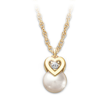 My Precious Granddaughter Cultured Pearl And Diamond Pendant Necklace