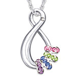 Personalized Swarovski Crystal Birthstone Necklace Mother's Infinite Joy