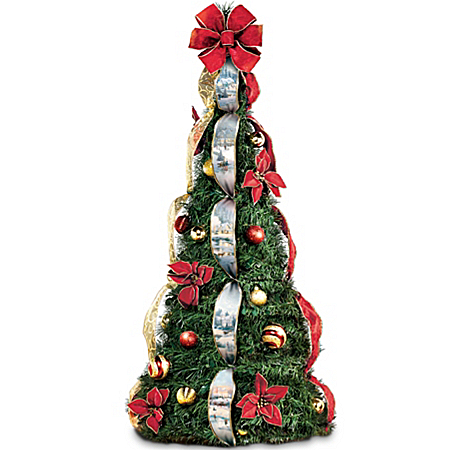Thomas Kinkade Holiday Classics Fully Decorated 4-ft Pre-Lit Pull-Up Christmas Tree