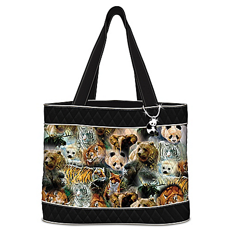"Protect The Wild"" Quilted Tote Bag With 2 Free Matching Cosmetic Cases"
